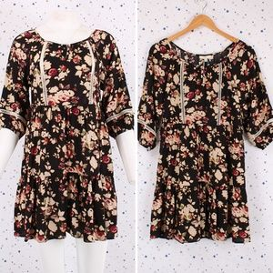 Floral Print Baby Doll Peasant Dress Empire Waist